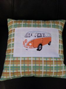 PERSONALISED EMBROIDERED VW CAMPER VAN THEME CUSHION - Orange